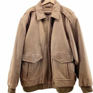 Roundtree & Yorke Brown Leather Bomber Jacket 3XLT